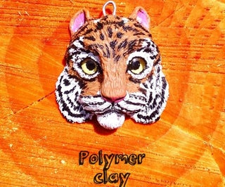 Polymer Clay Tiger Magnet or Key Fob