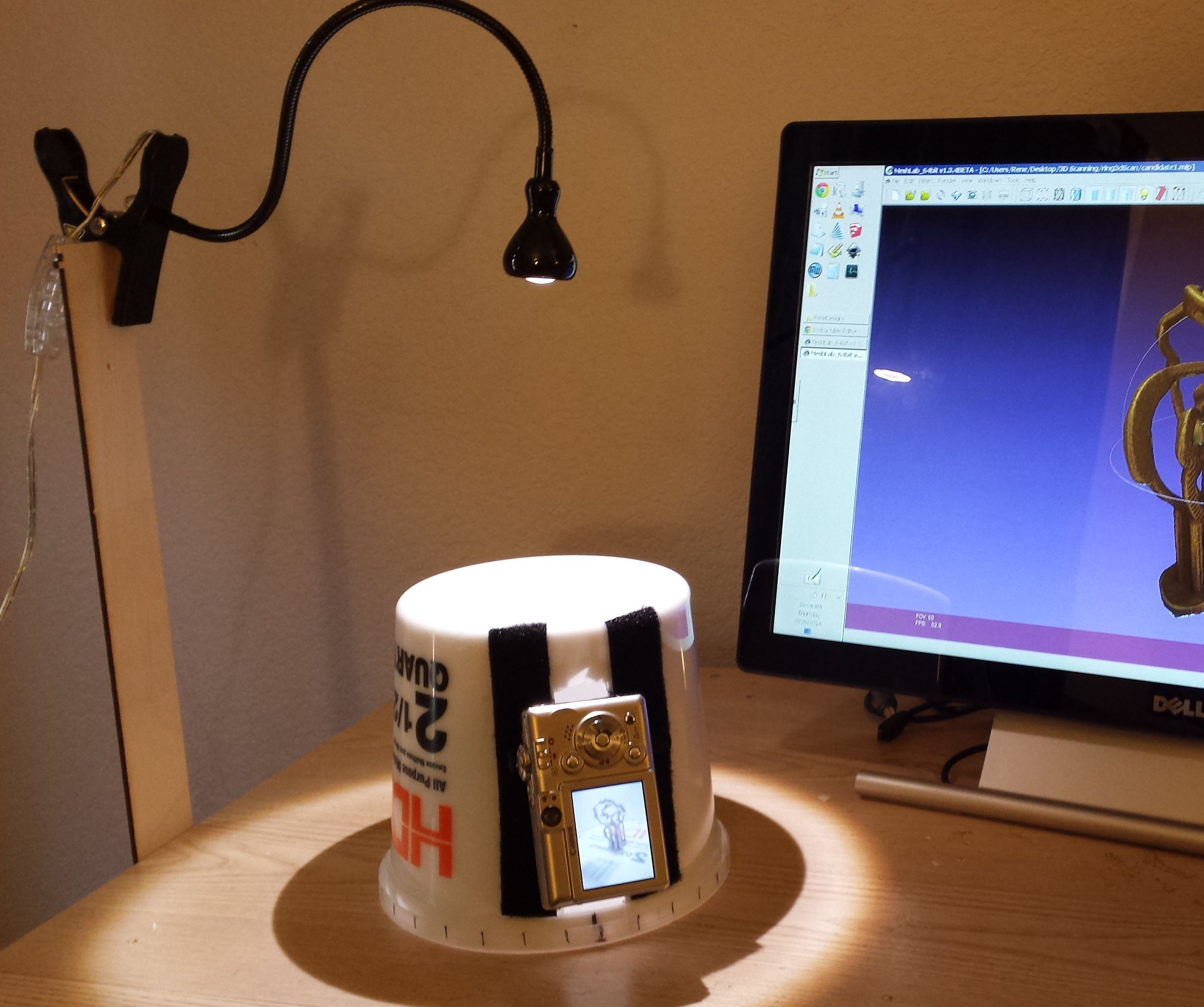 Plastic Pail 3D Scanner for 123D Catch