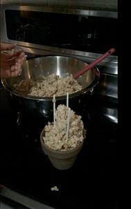 Poke 3 Lollipop Sticks Into the Rice Krispies (Make a Triangular Shape)