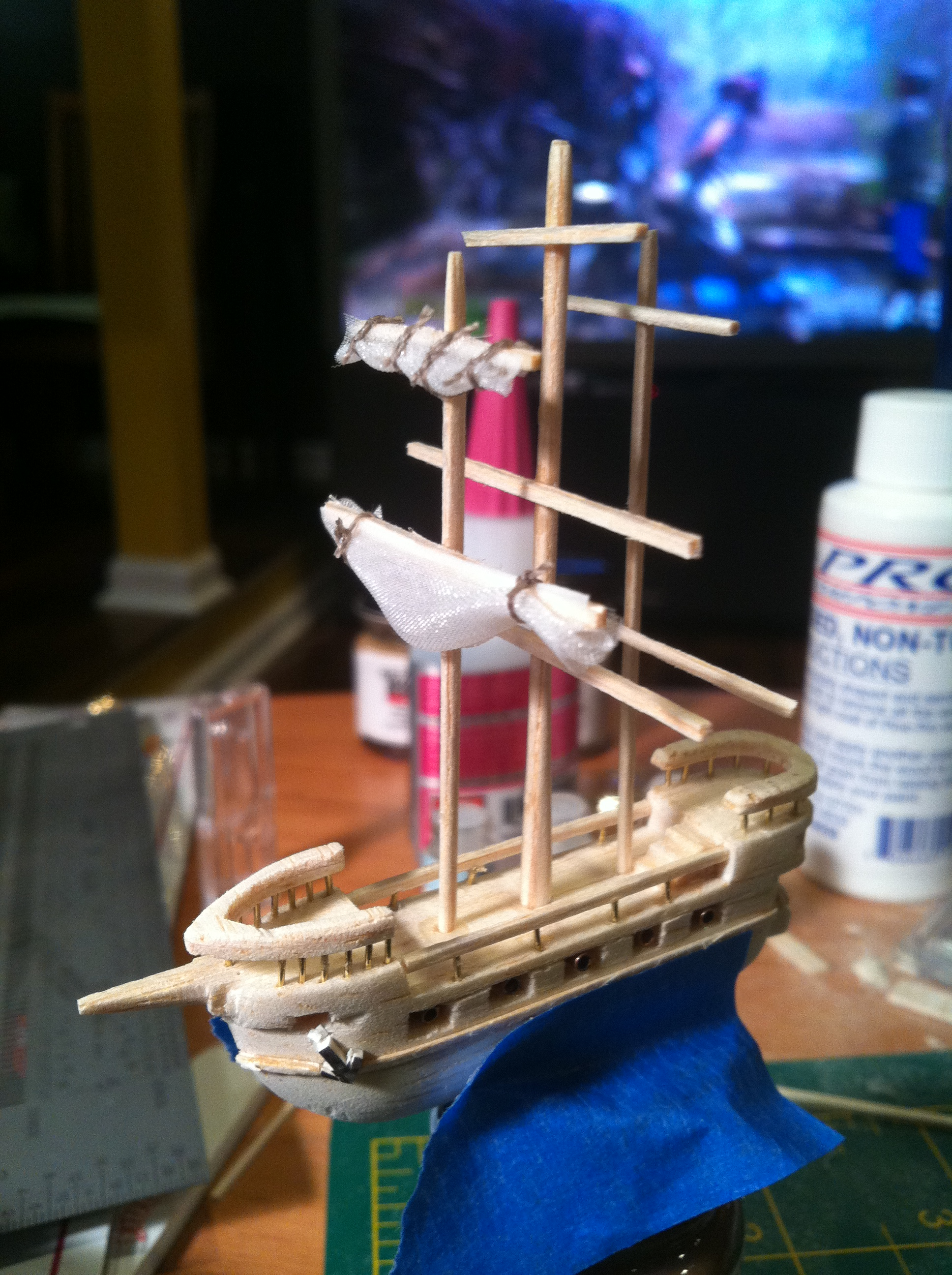 """Making a 2"""" long Galleon out of Bass & Balsa Wood"""