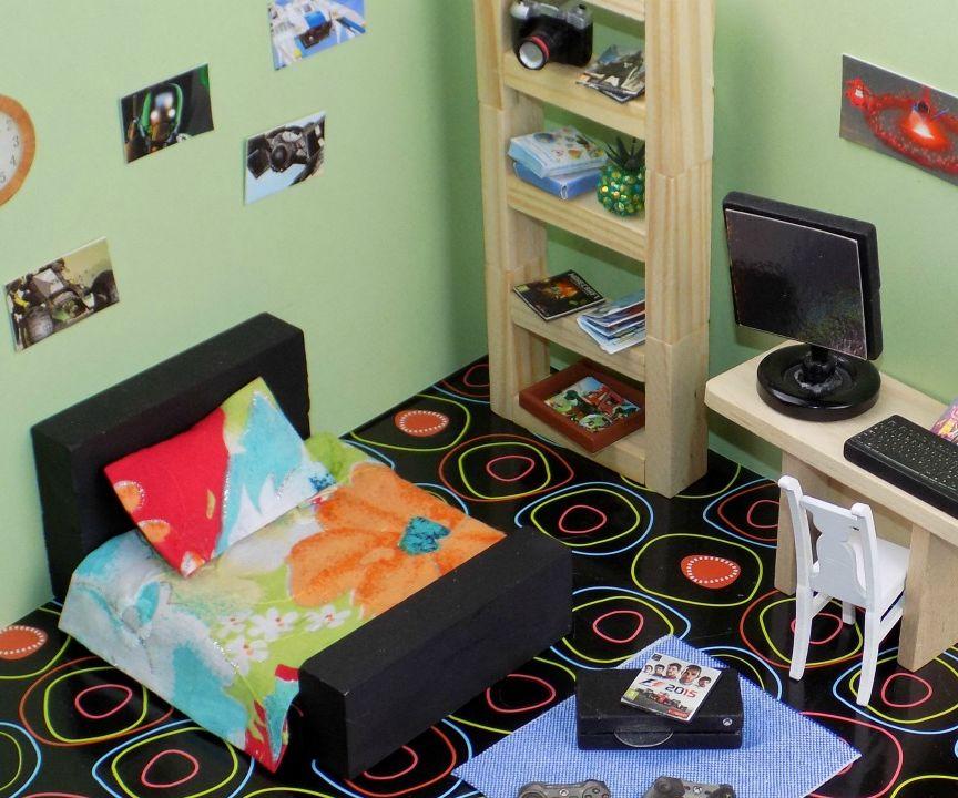 diy miniature dollhouse bedroom - gamers room