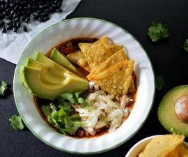 Vegan Poblano and Black Bean Tortilla Soup