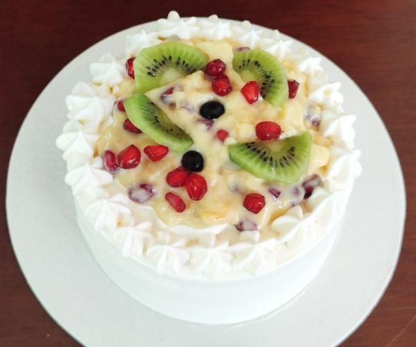 Fruit Custard Layer Cake