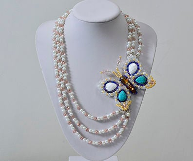 Pandahall DIY Project - How to Make a 3-Starnd Beaded Butterfly Necklace