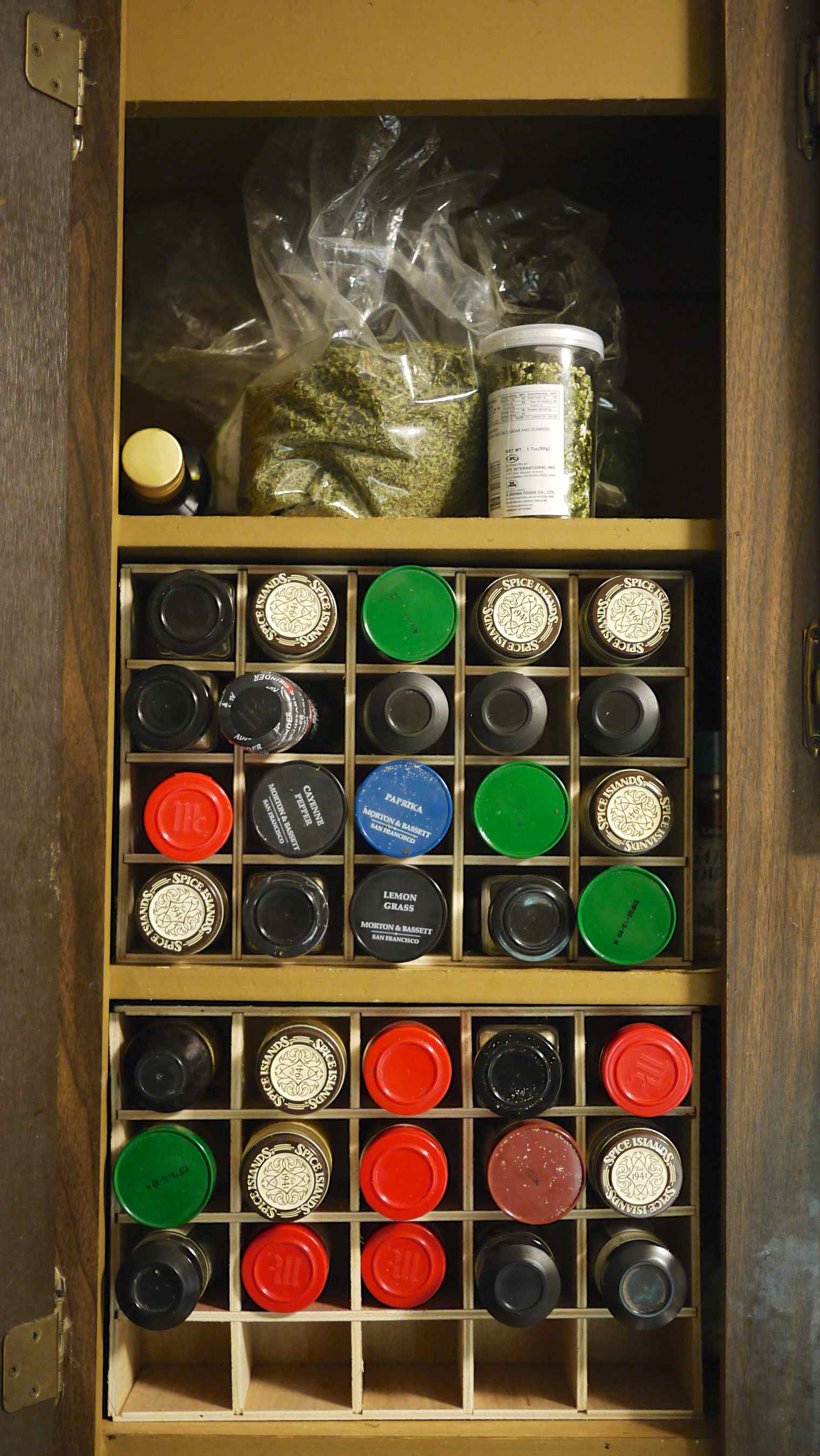 A cupboard spice organizer - made at Techshop