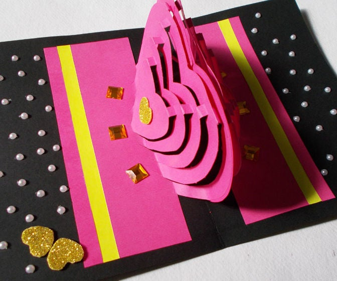 diy 3d kirigami card making ideas  how to make heart pop