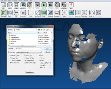 Export the Scan As an Obj File