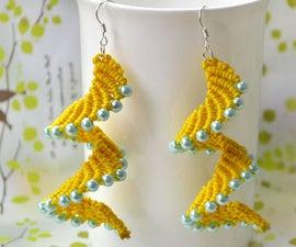Macramé螺旋耳环 - 如何用珍珠珠制作针织耳环图案