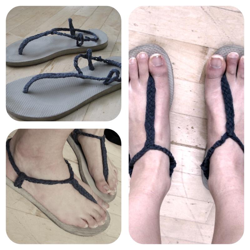 DIY Sandals from Old Flip Flops + T-Shirt