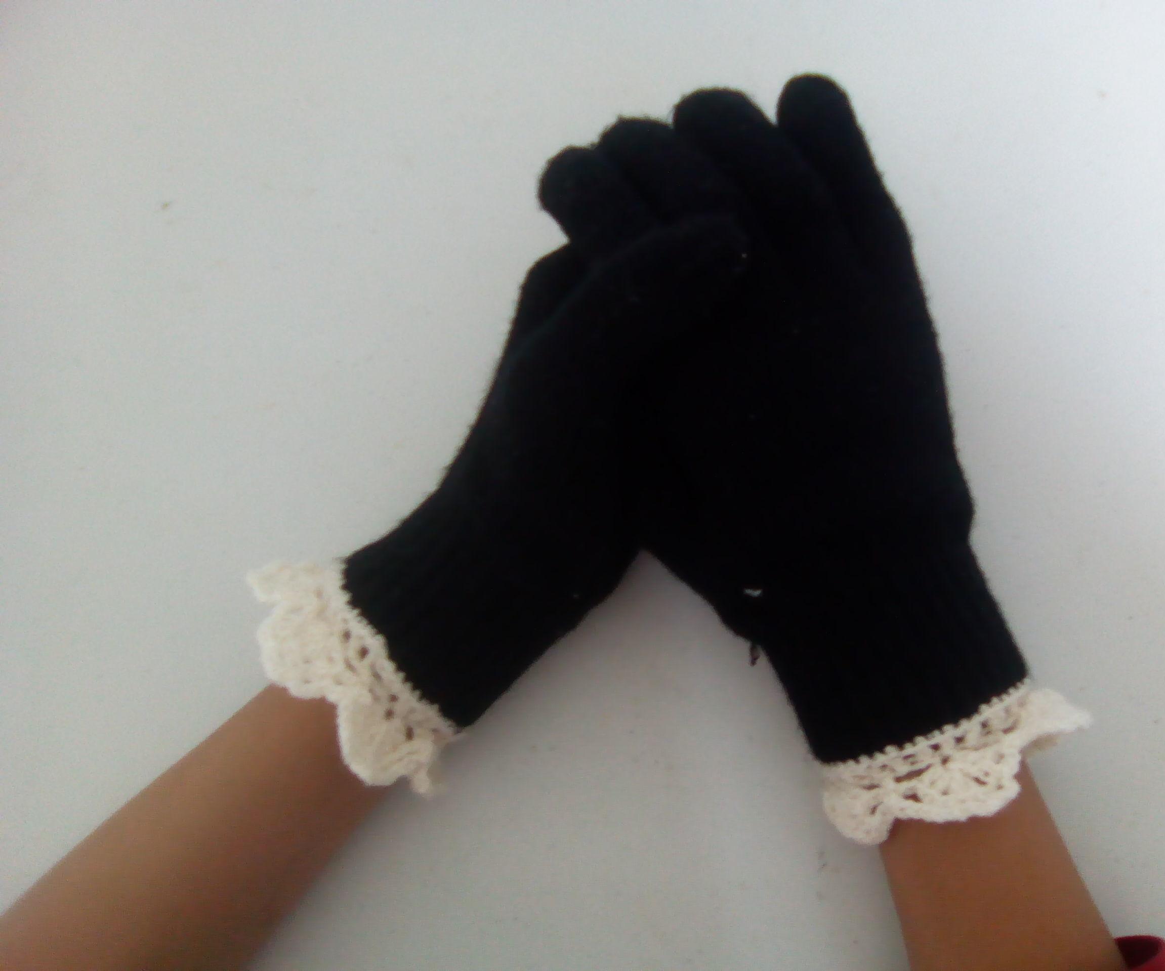 Crochet gloves lace edge