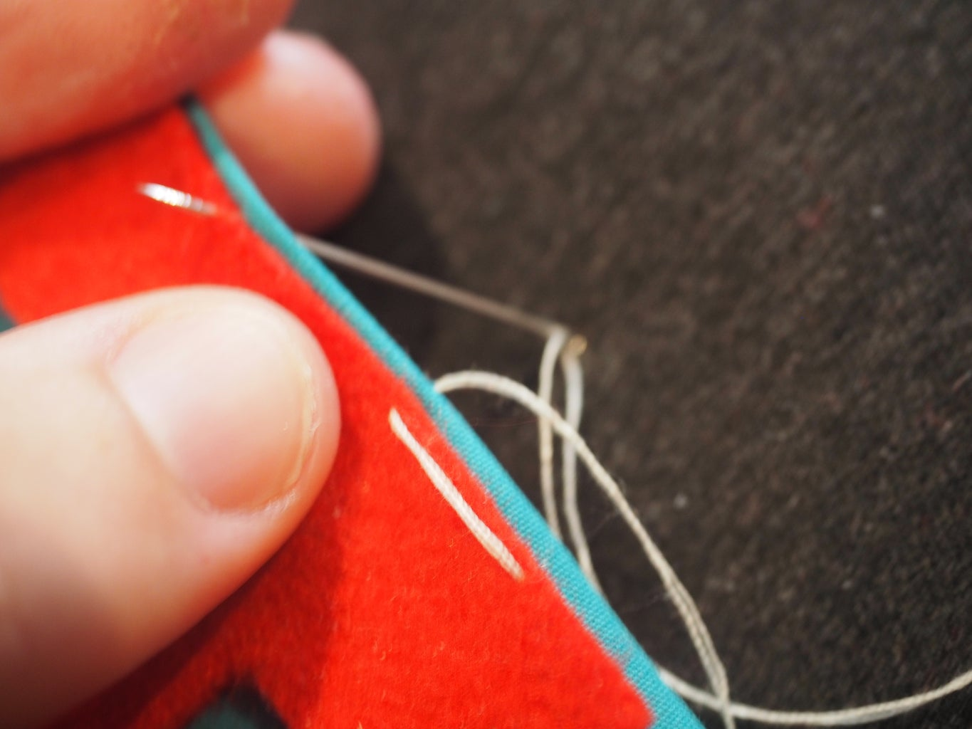 Sew Light Thread to Hold in Place