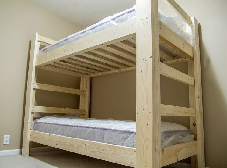 Easy And Strong 2x4 2x6 Bunk Bed 6, Diy Bunk Beds Twin Over Queen