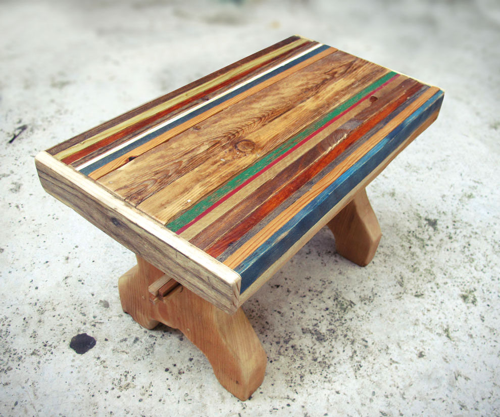striped wood stool