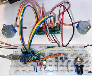 具有变速(Arduino + LED + 28byJ-48)的同步2轴运动
