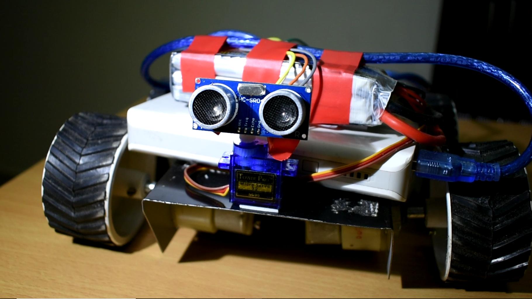 Obstacle Avoiding Robot Using Arduino (4 Wheels)
