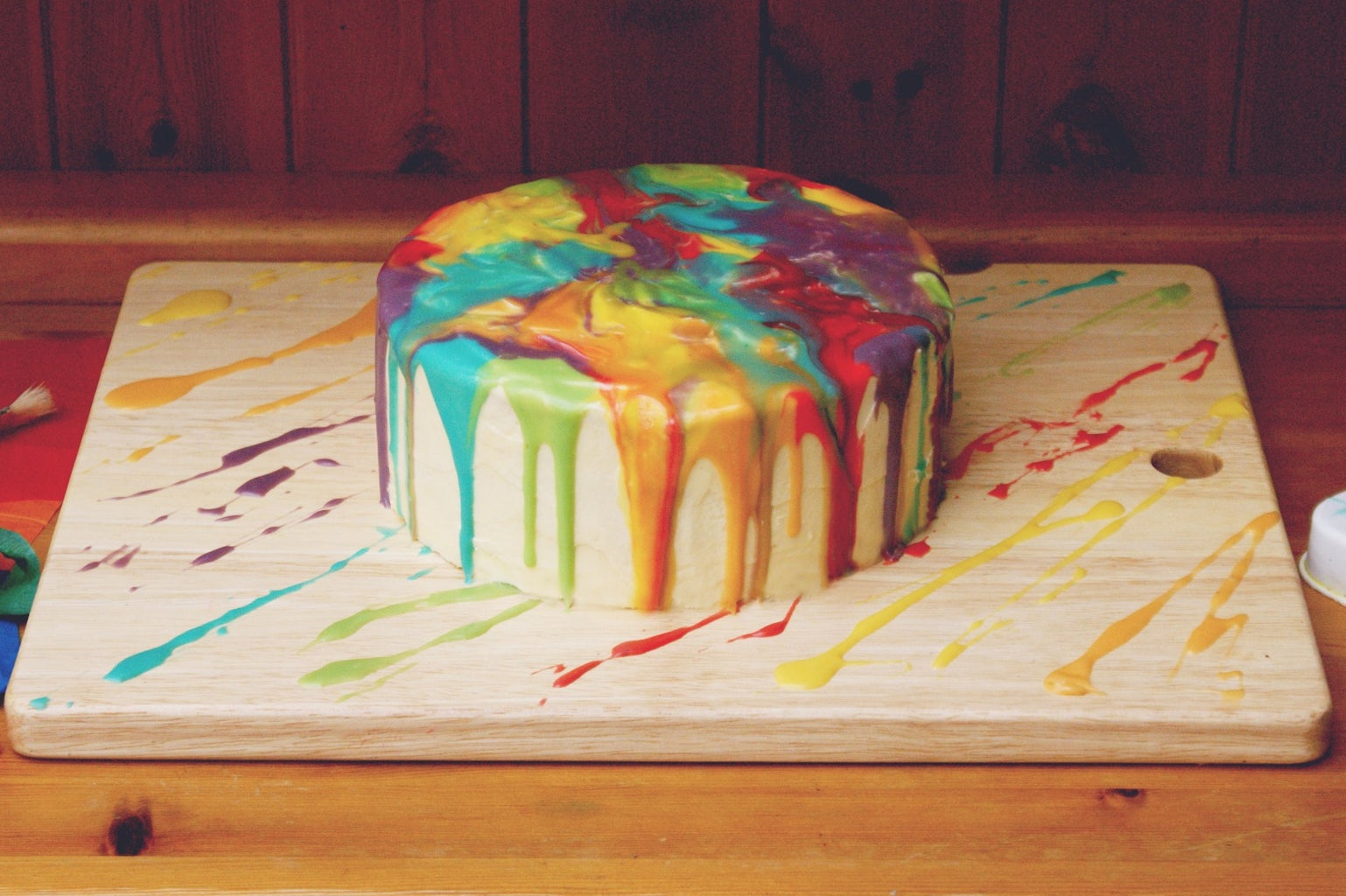 Melted Rainbow Paint Drip Cake