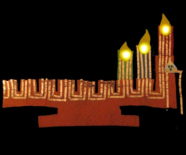 Light-Up Felt Menorah With Chibitronics Circuit Sticker (Proof of Concept)