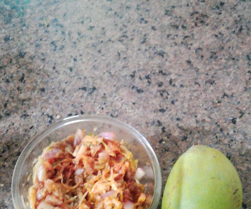 Raw mango onion hot salad
