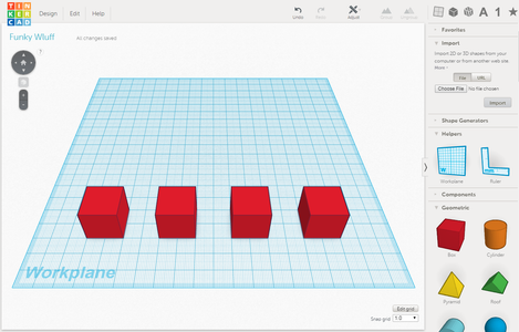 TinkerCad: Make Four Cubes