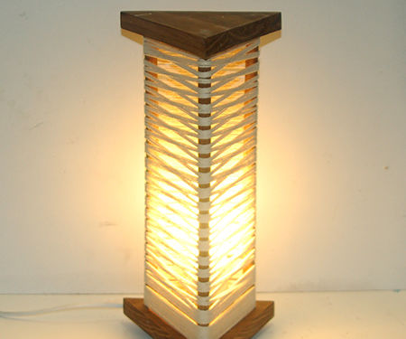 String or Yarn and Wood Lamp
