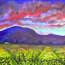 How to Paint Acrylic Sunset With Flowered Valley