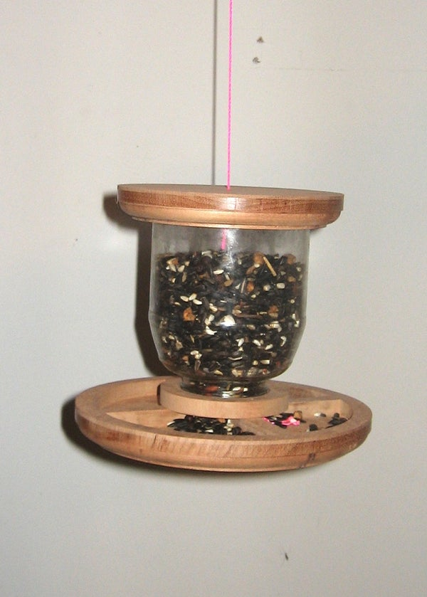 Hanging Bird Feeder With Wood and Recycled Jar