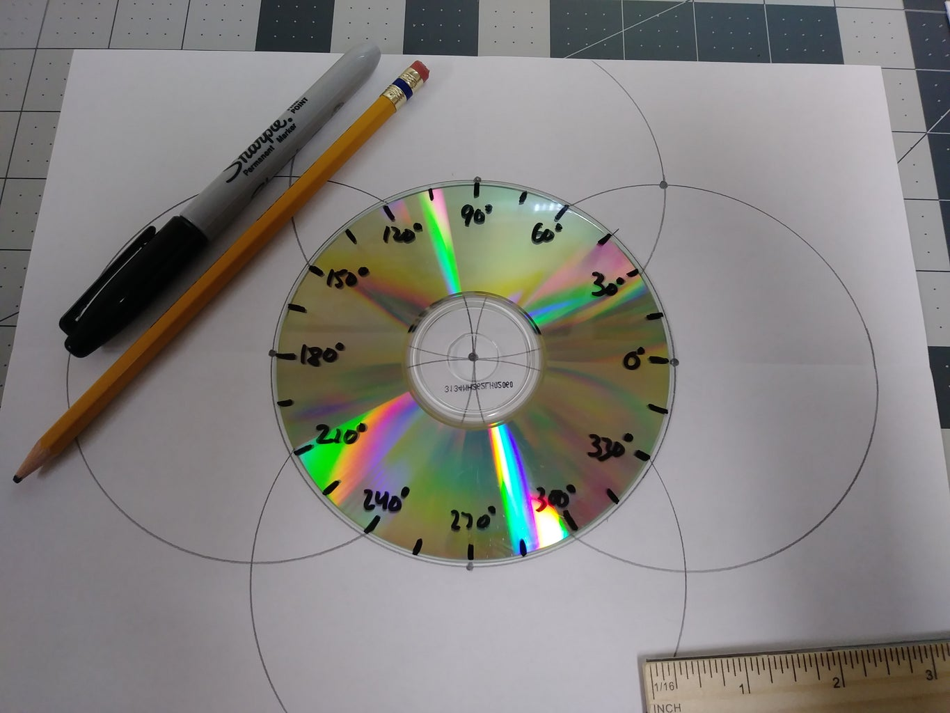 Marking the Angle Measures on the CD (The Multiples of 15°)