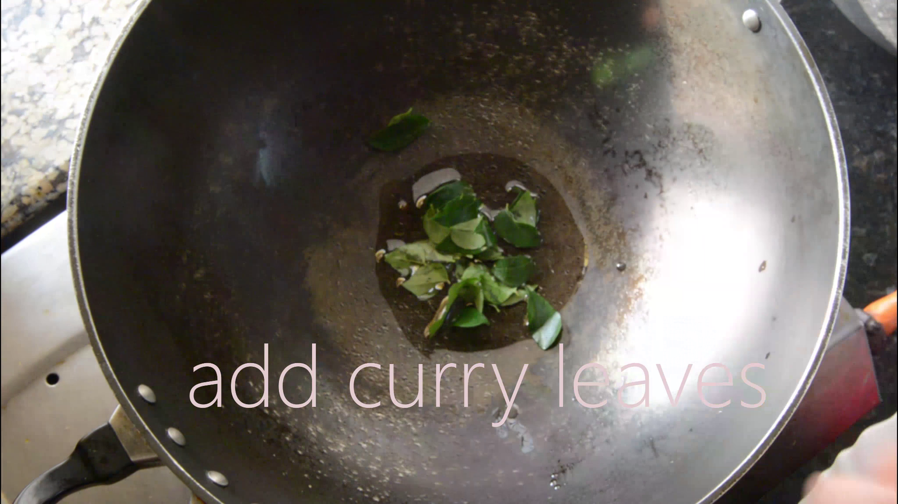 Add Oil and Curry Leaves