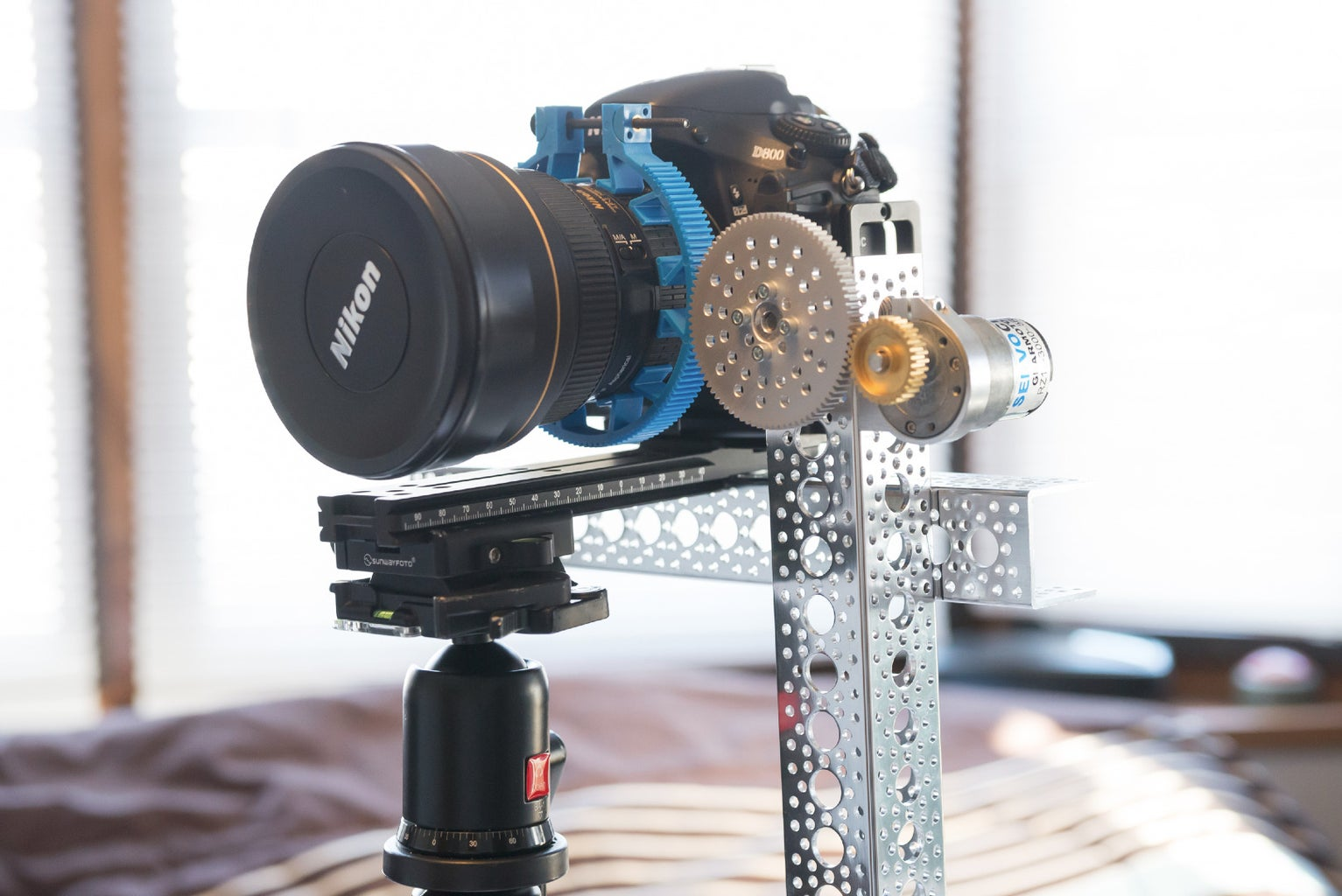 Attach a Gear to Your Lens and the Motor to Your Tripod