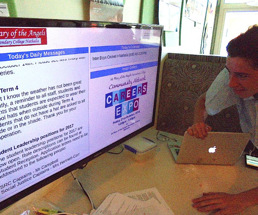 Digital notice board for schools