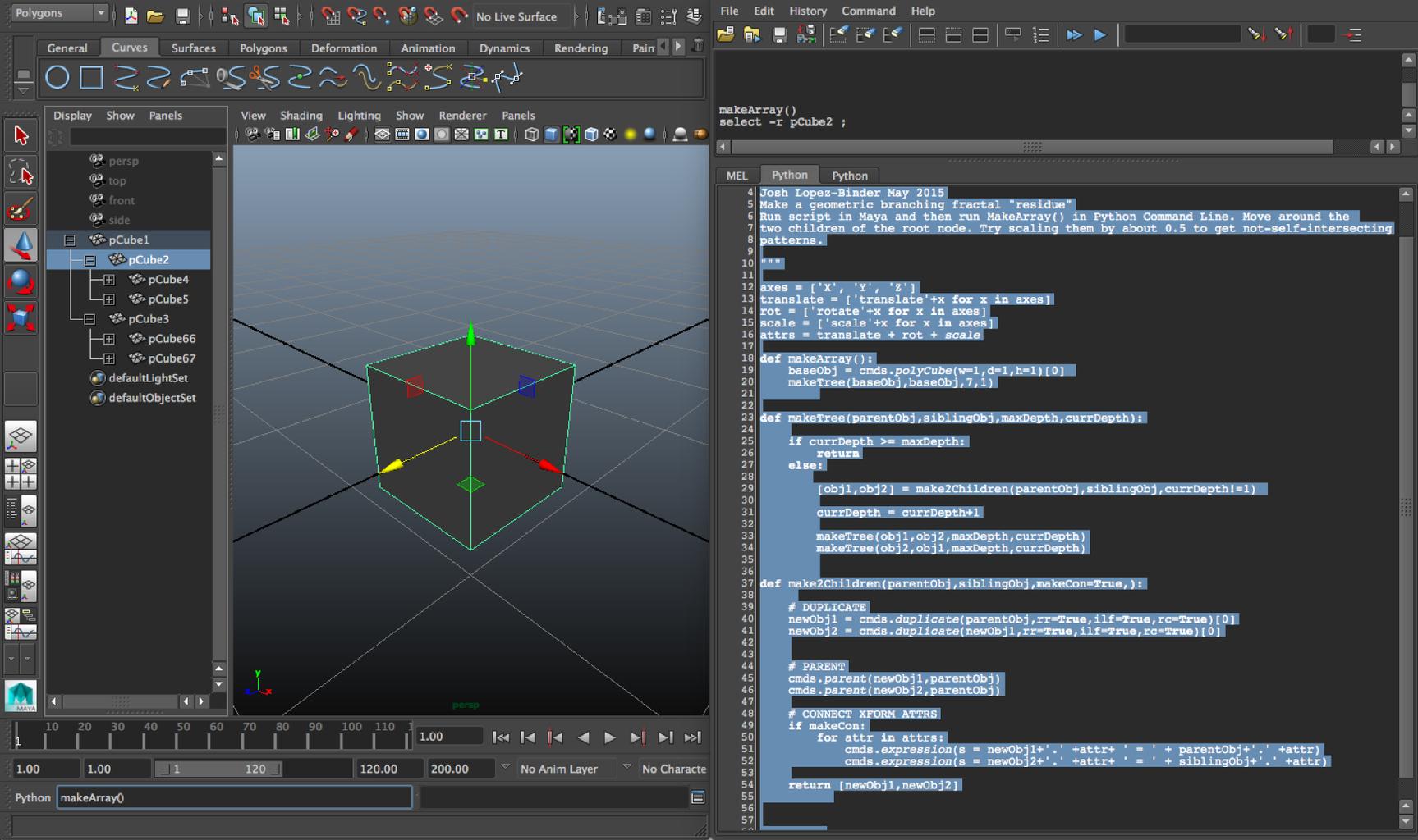 Setup: Make an Array of Cubes in Maya