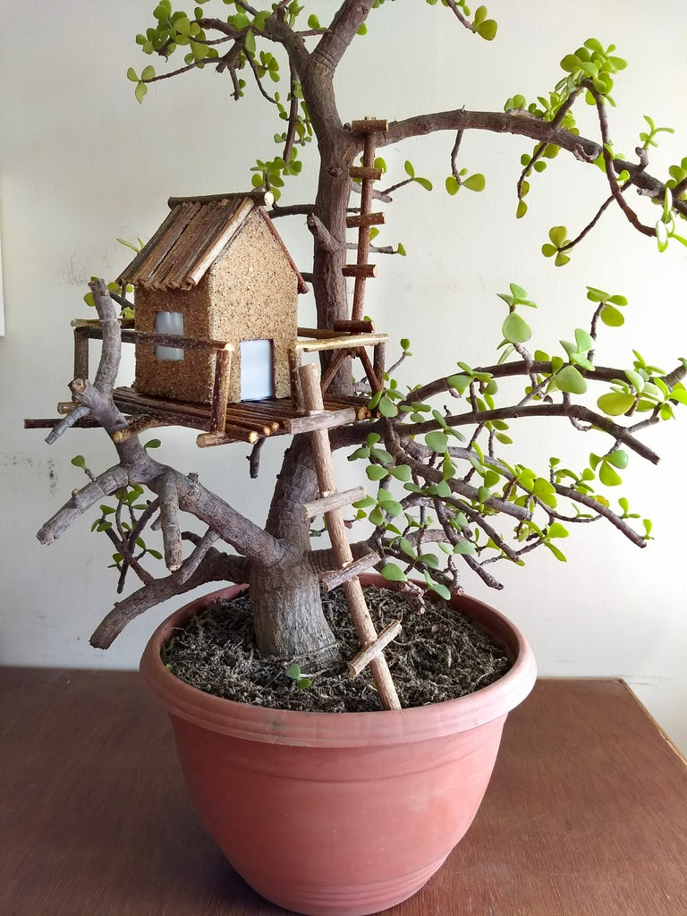 Bonsai Mini Lighted Rustic Tree House 10 Steps With Pictures Instructables