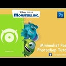 Minimalist Poster Photoshop Tutorial | Monsters Inc | Disney's Pixar | Graphic Designing