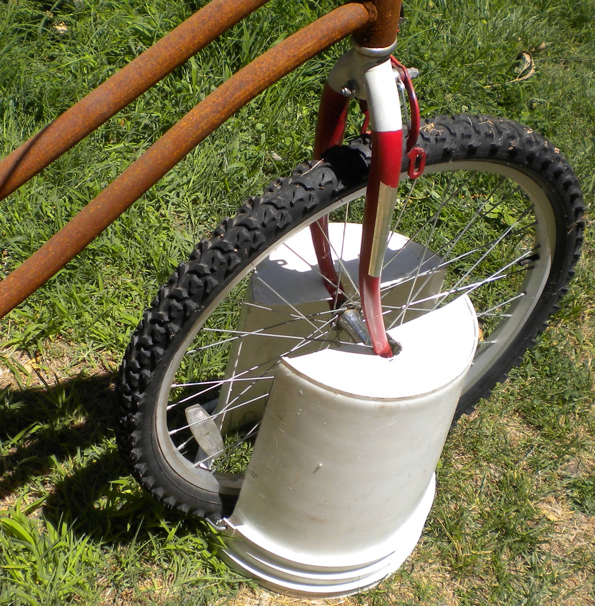 """BIKE BUCKET"" - Bicycle Stand - Portable, Cheap, Lightweight"