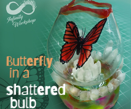 Butterfly in a Shattered Glass Bulb