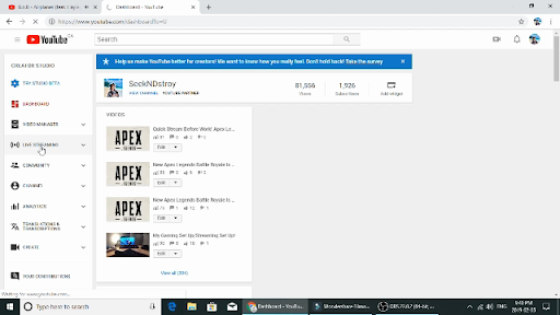 Go to Your Youtube Creator Account