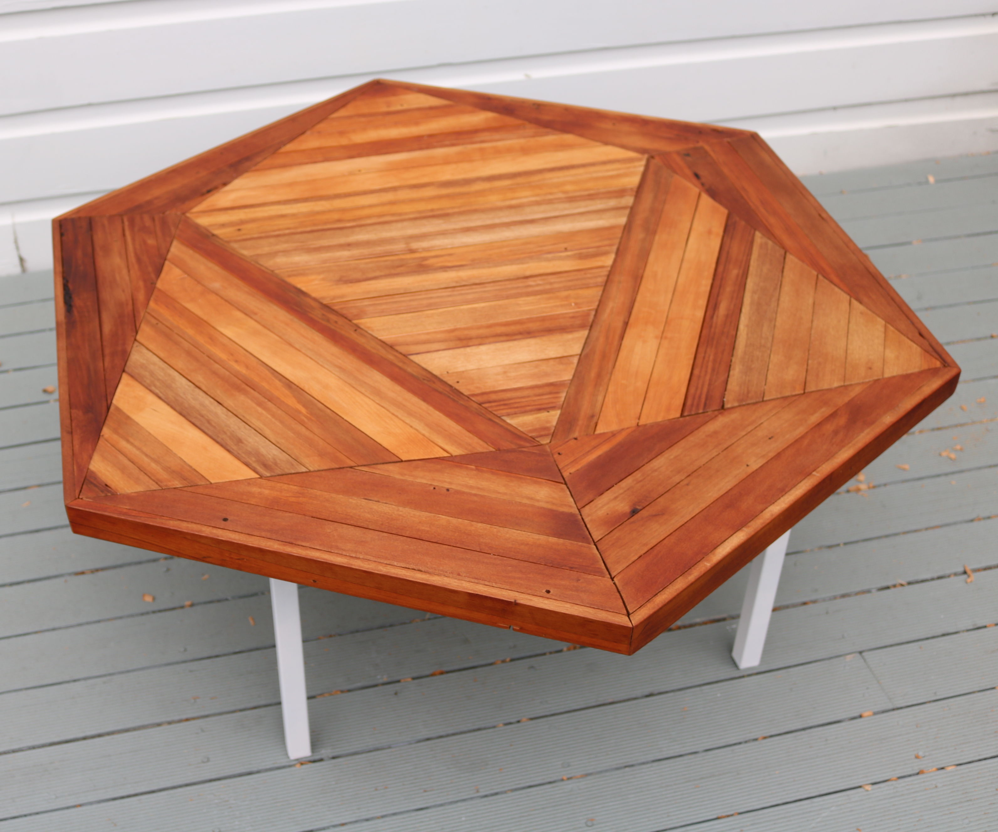 Geometric Pattern Scrap Wood Coffee Table