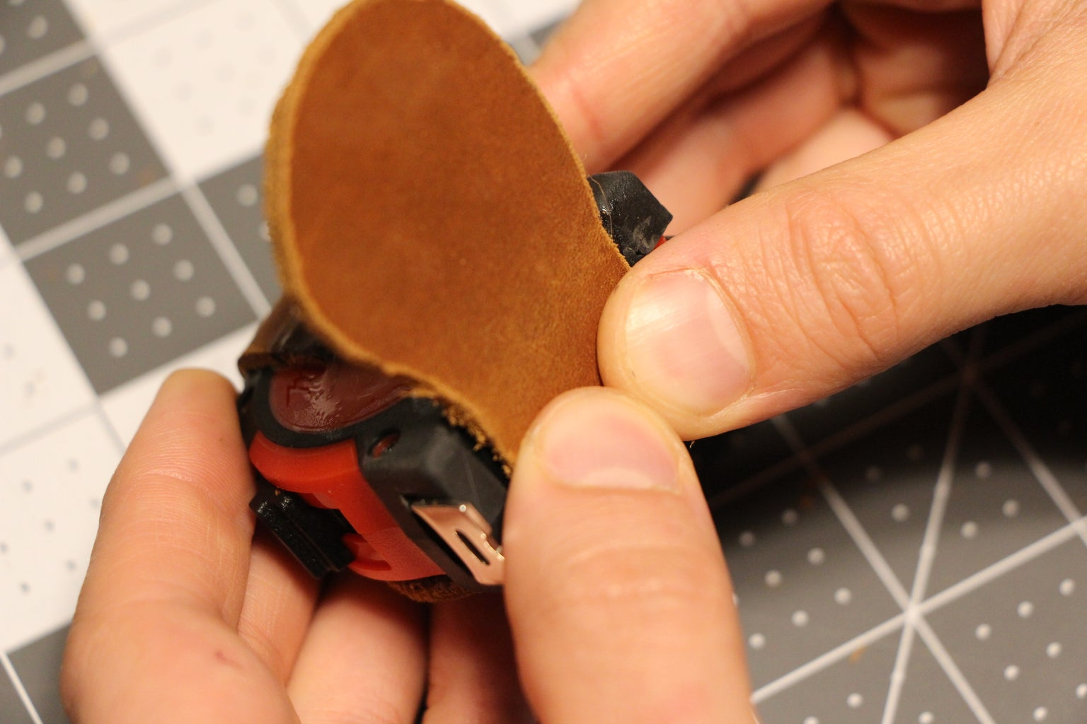 Attaching the Leather to the Measuring Tape