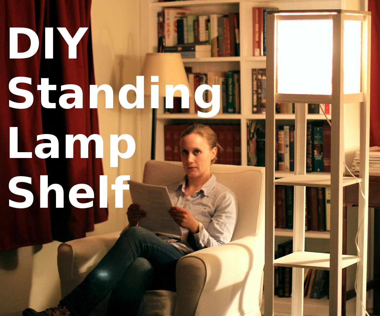 DIY Standing Lamp w/ Shelves