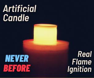 人造蜡烛被真正的火焰点燃