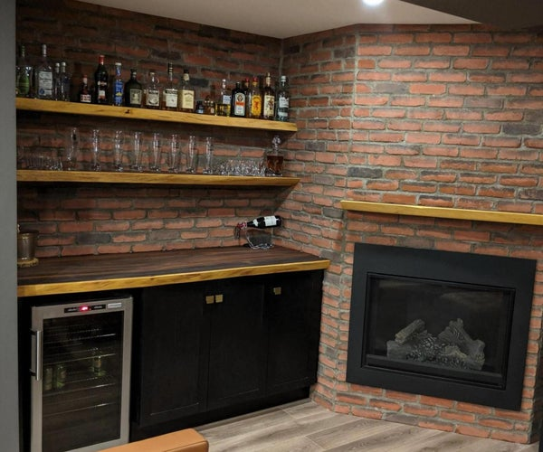 Live Edge Bar and Floating Shelves