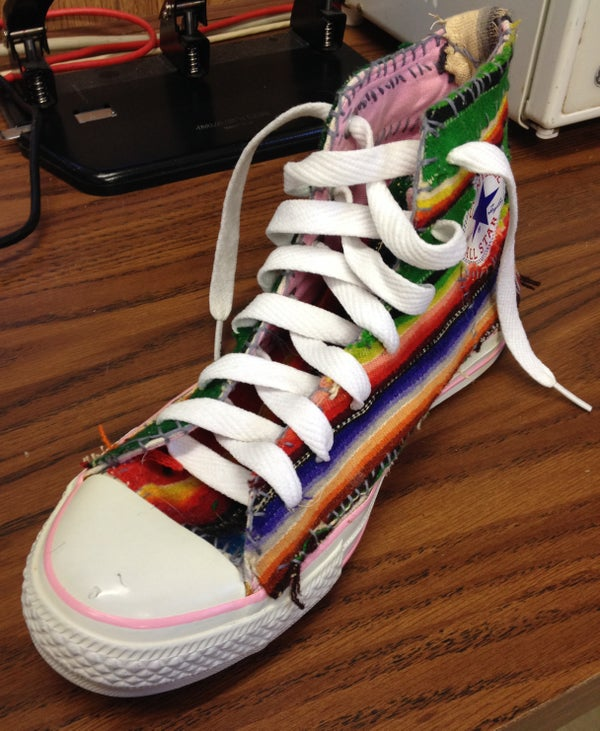 Mexican Blanket Patched and Embroidered Converse High Top Sneakers