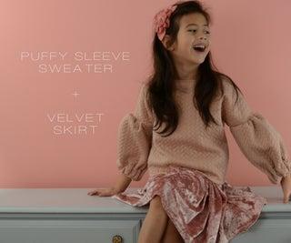 Puffy Sleeve Sweater + Velvet Skirt