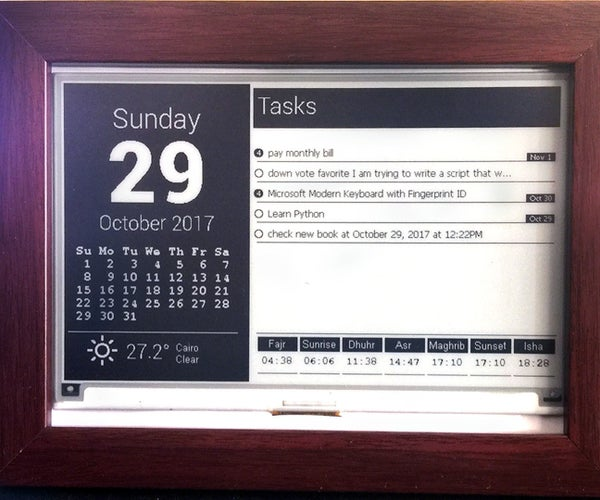 "Task List - Using Raspberry Pi and 7.5"" E-paper Display"