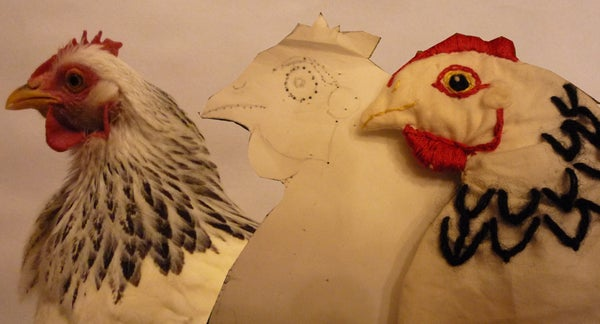 Snuggly Snowy Wheat-filled Warmer. Home-made Hen-shaped Organic Heat/cold Pad. Bouillotte Bio
