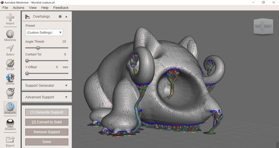 Finishing Up and Preparing Your Model for Print: Overhangs and Generating Support