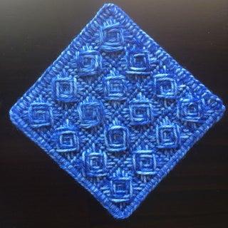 Handmade Indigo Cross-stitch Coaster