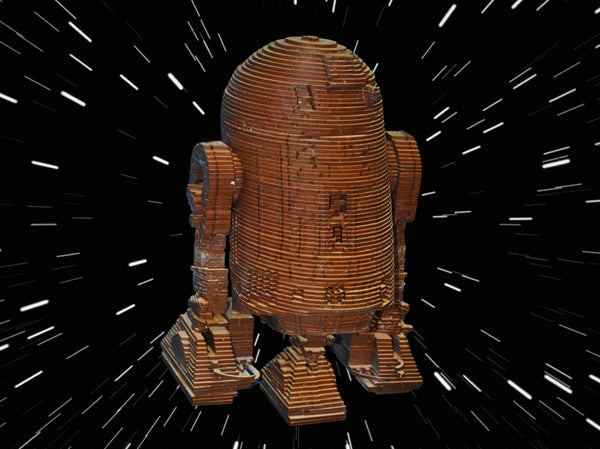R2D2 - Laser Cut Wood Model