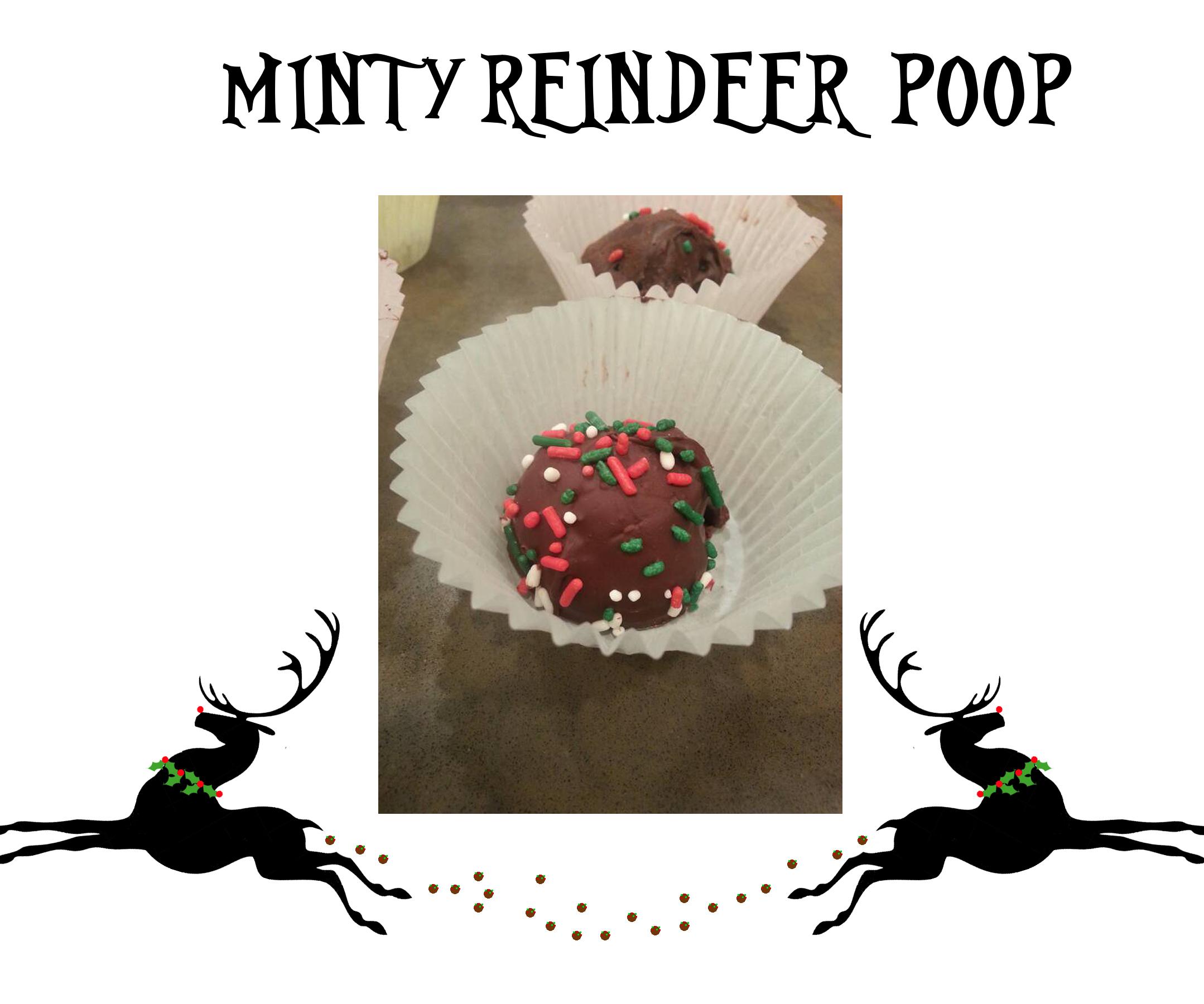 Minty Reindeer Poop no bake truffles (warning-slightly inappropriate and totally subversive)