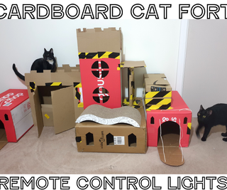 Cardboard Cat Fort With LED Remote Control Lighting and Real Drawbridge